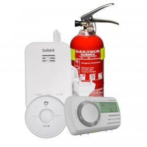 DOMOWY PLUS: Czujnik czadu CO-9D, dymu SB5, gazu ziemn. i LPG SHG-02, Gaśnica