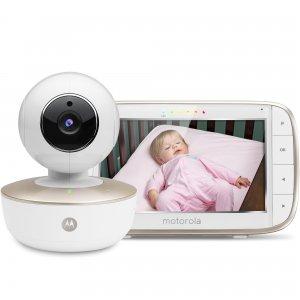 Przenośna niania elektroniczna z obrotową kamerą, Wi-Fi i 5-calowym monitorem Motorola MBP855